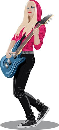Vector series - beautiful brunette with guitar photo