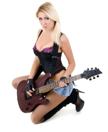 Series. The beautiful blonde with a guitar Stock Photo - 5945801
