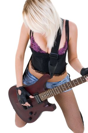 Series. The beautiful blonde with a guitar Stock Photo - 5945779