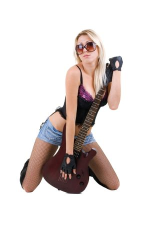 Series. The beautiful blonde with a guitar Stock Photo - 5945838