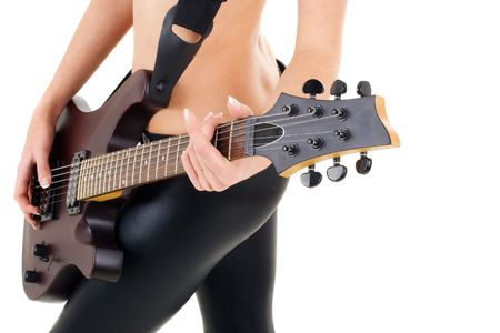 Series. female legs and guitar isolated on a white background Stock Photo - 5945753