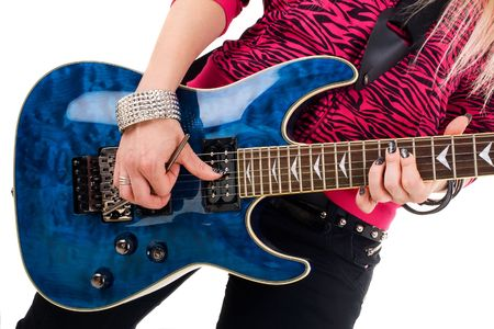Series. The beautiful blonde with a guitar Stock Photo - 5986905