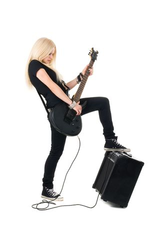 rock guitarist: Series. The beautiful blonde with a guitar