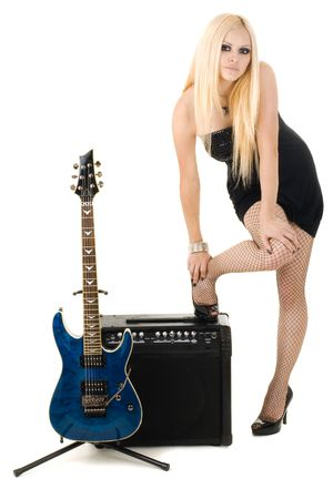 Series. The beautiful blonde with a guitar photo