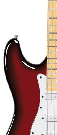 top animated: series. Electric guitar isolated on white background