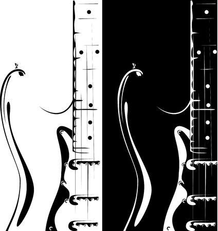 series. Electric guitar black-white version photo