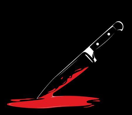 Series. sharp knife on black background
