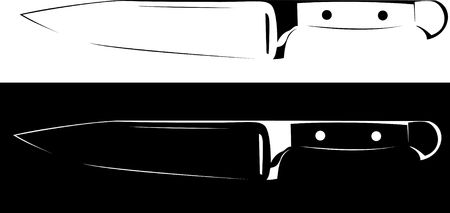 slaughter: Series. sharp knife black and white background Stock Photo