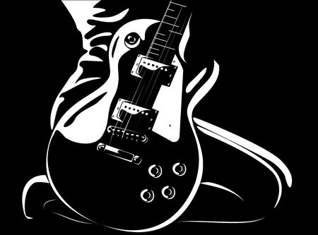 pop musician: Series. beautiful girl with a guitar black-white version