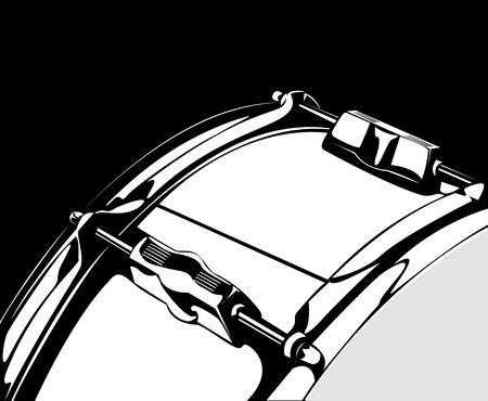 Series. Snare drum black-white version photo