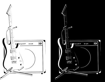 grung:  Electric guitar black-white version Stock Photo