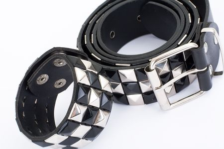 studs: Series. Black Leather Belt with Chrome Studs