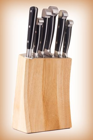 Series. Set of kitchen knifes isolated on gradient background Stock Photo