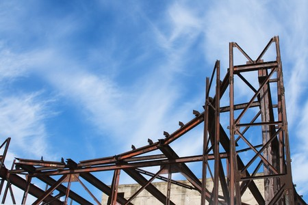 metal structure: A series. An iron design against the blue sky