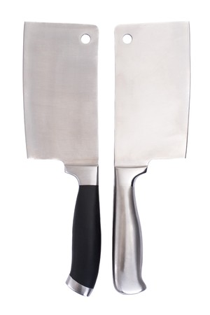 Series. meat cleaver isolated over white background
