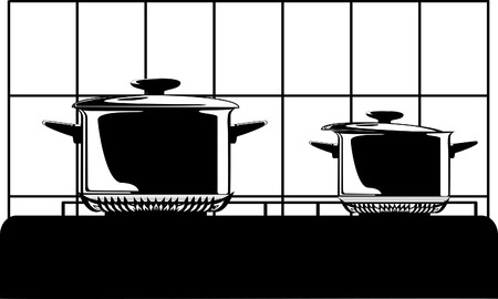 big series of images of kitchen ware photo