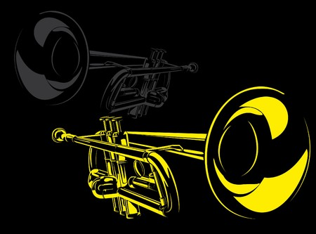 brass instrument: series. A series of musical instruments Stock Photo