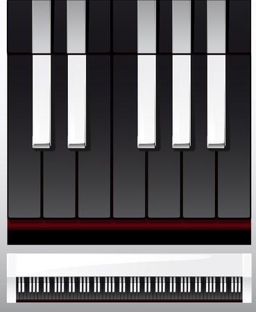 set of piano keys in illustration, black and white illustration
