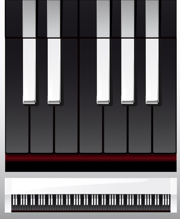 set of piano keys in illustration, black and white illustration