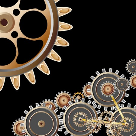rotation: Gears on black background Stock Photo