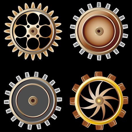 Gears on black background  Stock Photo - 7775568