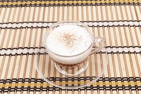 bamboo mat: Series.cappuccino cup on bamboo mat