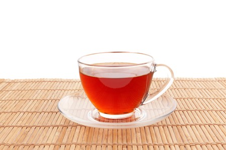 bamboo mat: Series. Glass Cup of Tea on bamboo mat Stock Photo
