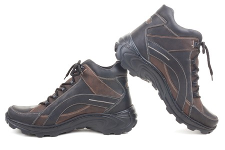 safety shoes: Series. Black leather shoes on a white background