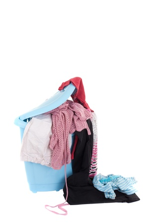 Series. basket of dirty laundry on white photo