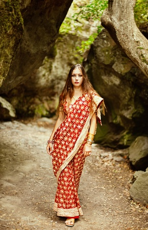 Series. young beautiful brunette in the indian national dress Stock Photo - 8628127