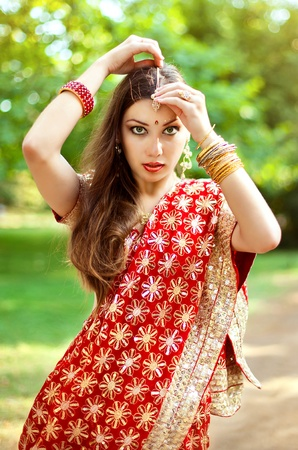 Series. young beautiful brunette in the indian national dress Stock Photo - 8628233