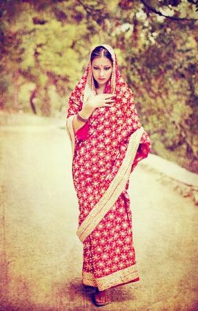cultural and ethnic clothing: Series. young beautiful brunette in the indian national dress