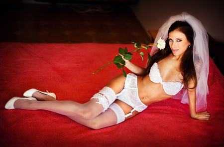 vrouw ondergoed: Serie. sexy bruid in lingerie