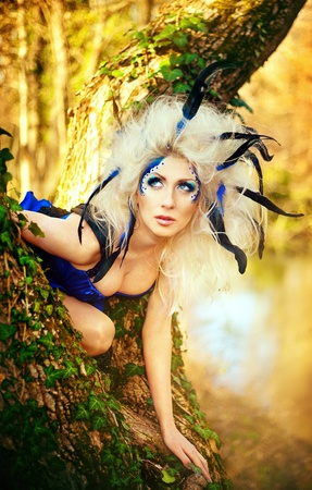 Series. Young beautiful girl dressed as fairies