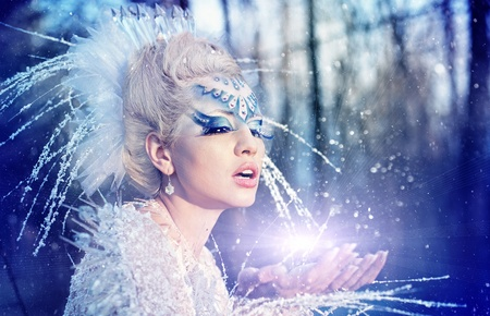 cute fairy: Series. Beautiful blonde in a dress of Snow Queen