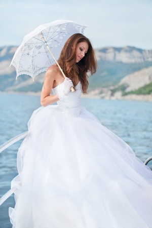 1 person only: beautiful bride on the yacht
