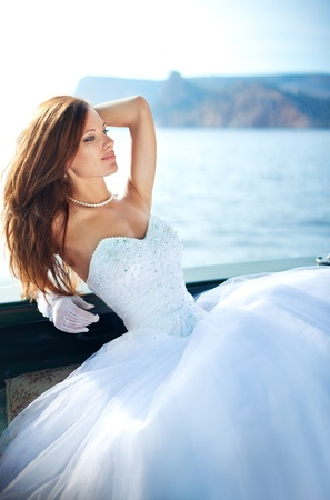 beautiful bride on the yacht