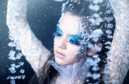 Series. Beautiful brunette in a dress of Snow Queen