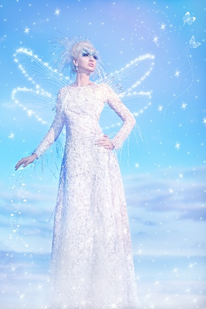 fairy princess: Series. Beautiful blonde in a dress of Snow Queen