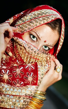 beautiful indian girl face: Series. young beautiful brunette in the indian national dress