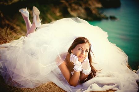Serie. Retrato de la joven novia bella Foto de archivo