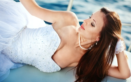 beautiful bride on the yacht Stock Photo - 9028503