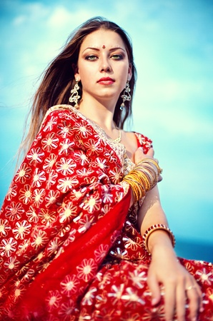 Series. young beautiful brunette in the indian national dress