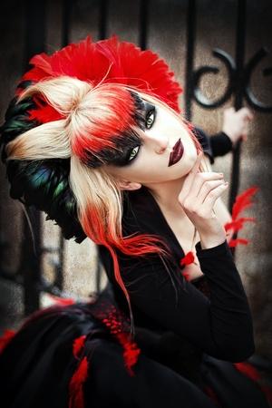 Serie. Un retrato de la chica en estilo gótico Foto de archivo - 9153358