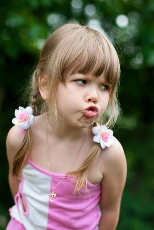blonde little girl: series. Rest of the little girl in village