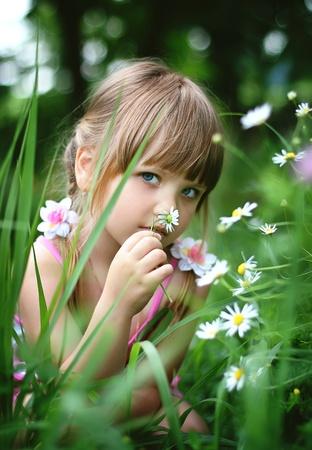 blonde little girl: Little girl in village