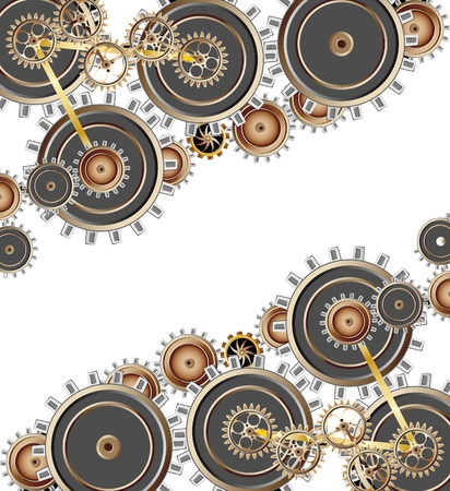Vector series. Gears on black background Stock Photo - 9618847