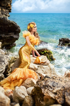 Series. Young beautiful girl in the image of a mermaid