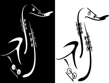 brass instrument: Vector series. Black and white saxophone  Stock Photo