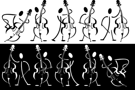 contrabass: Vector series. Contour of the musician playing on the instrument Stock Photo
